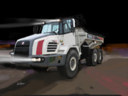 Trenches Paintings - Terex TA27 articulated dump truck by Brad Burns