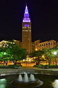 Flowing Fountain Prints - Terminal Tower Print by Robert Harmon