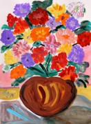 Mary Carol Williams Drawings - Terra Cotta and Mixed Bouquet by Mary Carol Williams