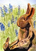 Bunny Paintings - Terra Cotta Bunny Family by Angela Davies