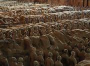 Qin Shi Huangdi Emperor Of China Prints - Terra-cotta Soldiers Face An Imaginary Print by O. Louis Mazzatenta