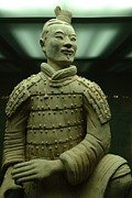 Qin Shi Huang Framed Prints - Terra Cotta Warrior Excavated At Qin Framed Print by Richard Nowitz