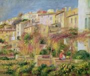 Mediterranean Framed Prints - Terrace in Cagnes Framed Print by Pierre Auguste Renoir