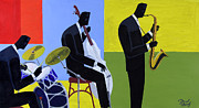 Trio Painting Posters - Terrace Jam Session Poster by Darryl Daniels