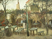 Cafe Terrace Digital Art Posters - Terrace of a Cafe on Montmartre La Guinguette Poster by Van Gogh