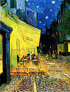 Night Cafe Painting Framed Prints - Terrace of the cafe on the Place du Forum in Arles in the evening Framed Print by Pg Reproductions