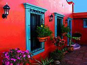 Terrace Windows At Casa De Leyendas By Darian Day Print by Olden Mexico