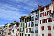 Residential Structure Prints - Terraced Houses With Colourful Window Shutters, Bayonne, France Print by David Forman