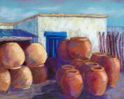 Adobe Building Pastels Posters - Terracotta Pots Poster by Candy Mayer