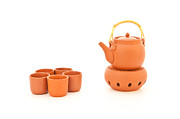 Teapot Posters - Terracotta tea set Poster by Tom Gowanlock