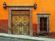 San Miguel De Allende Framed Prints - Terracotta Wall 1 Framed Print by Olden Mexico