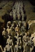 Archaeological Photos - Terracotta Warriors And Horses March by O. Louis Mazzatenta