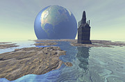 Earth Digital Art - Terraforming The Moon With Water by Corey Ford