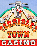 Signage Digital Art Framed Prints - Terribles Town Casino Framed Print by Wingsdomain Art and Photography