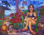 Verandah Paintings - Terrorist Tui And Too Comfy Cats by Dianne  Connolly