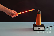 Tesla Photos - Tesla Coil And Neon Tube by Ted Kinsman