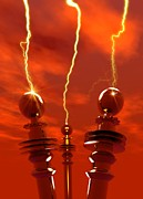 Tesla Photos - Tesla Coils Firing, Artwork by Victor Habbick Visions