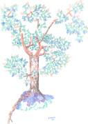 Fine Point  Drawings Metal Prints - Tesselated Tree Metal Print by Regina Valluzzi