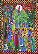 Ancient Tapestries - Textiles Prints - Tete LEau-Water Ritual Print by Maria Alquilar