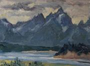 Mountains Painting Originals - Teton Eve by Zanobia Shalks