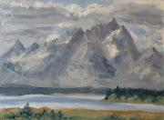 Mountains Painting Originals - Teton Morn by Zanobia Shalks