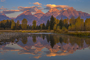 Wyoming Posters - Teton Morning Mirror Poster by Joseph Rossbach