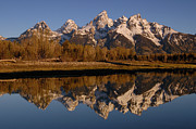Snow-covered Landscape Photo Prints - Teton Range, Grand Teton National Park Print by Pete Oxford