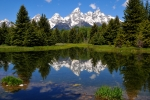 Mountain Reflection Posters - Teton Reflection Poster by Alan Lenk