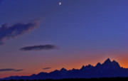 Sunset In Mountains Posters - Teton Silouette Poster by Scott Mahon