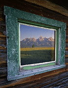 Cabin Window Framed Prints - Tetons in Window Framed Print by Mike Norton