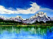 Jackson Painting Originals - Tetons Jackson Hole Impression tryptich by Paul Miller