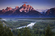 River. Clouds Framed Prints - Tetons Morning Framed Print by Andrew Soundarajan