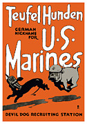 Military Mixed Media Metal Prints - Teufel Hunden German Nickname For US Marines Metal Print by War Is Hell Store