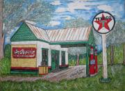 Pumps Painting Prints - Texaco Gas Station Print by Kathy Marrs Chandler