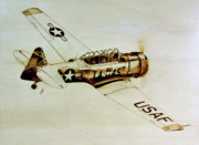 Flying Pyrography Prints - Texan T6 Print by Ilaria Andreucci