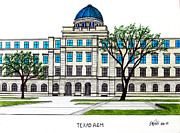Buildings Drawings Drawings Framed Prints - Texas AM University Framed Print by Frederic Kohli