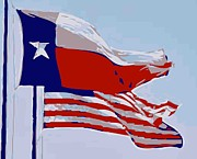 Texas Country Music Digital Art Prints - Texas and USA Flags Flying Color 12 Print by Scott Kelley
