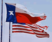 Texas Country Music Digital Art Prints - Texas and USA Flags Flying Color 16 Print by Scott Kelley