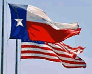 Texas Country Music Digital Art Prints - Texas and USA Flags Flying Color 64 Print by Scott Kelley