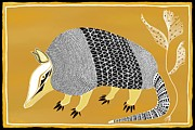 Mascot Painting Metal Prints - Texas Armadillo Metal Print by Barbara Drake