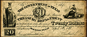 Republic Of Texas Posters - Texas Banknote 1838 Poster by Granger