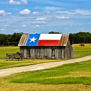 Texas Prints Posters - Texas Barn Flag Poster by Gary Grayson