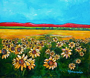 Field Of Sunflowers Paintings - Texas Blues by Patti Schermerhorn