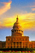 Texas Western Art Collector Posters - Texas Capitol at Sunset Austin Poster by Jeff Steed