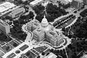 Hill Country Digital Art Prints - Texas Capitol BW10 Print by Scott Kelley