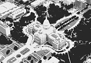 Hill Country Digital Art Prints - Texas Capitol BW3 Print by Scott Kelley
