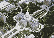 Austin Digital Art Posters - Texas Capitol Color 6 Poster by Scott Kelley