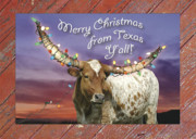 Longhorn Photo Acrylic Prints - Texas Christmas Card Acrylic Print by Robert Anschutz