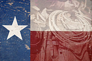 Texas Cowgirl Posters - Texas Cowboy Flag Poster by Paul Huchton