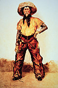 Tx Posters - Texas Cowboy Poster by Frederic Remington